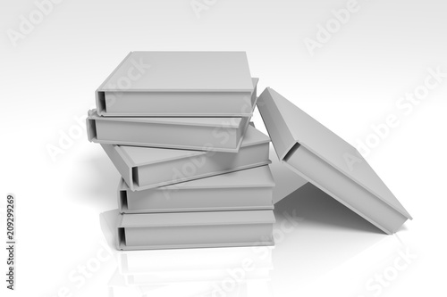 Books Black And White Color In A Pile Lie On A Table 6 Books With