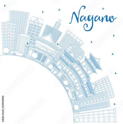 Staande foto Schilderingen Outline Nagano Japan City Skyline with Blue Buildings and Copy Space.