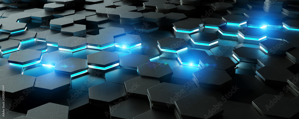 Fototapety, obrazy: Black and blue hexagons background pattern 3D rendering