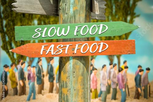 Fotografie, Obraz  Schild 313 - Slow Food