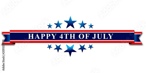 Obraz Happy 4th Of July USA Independence Day Header Or Banner Background. - fototapety do salonu