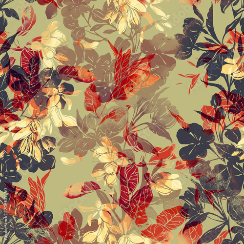 imprints abstract flowers mix repeat seamless pattern Tableau sur Toile