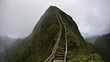 canvas print picture - stairway to heaven metal stairs on mountain ridge hike Oahu island Hawaii