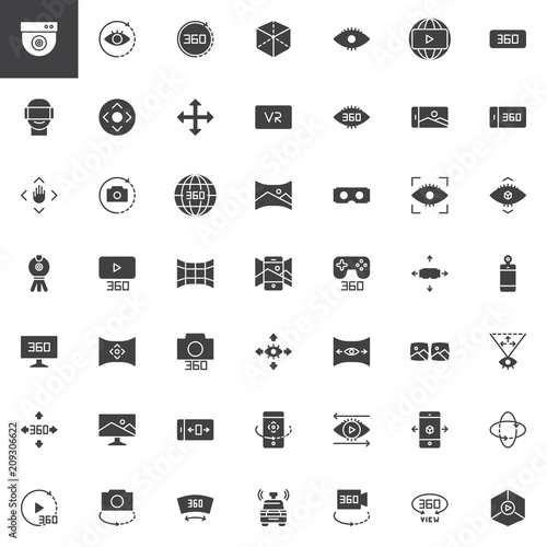 360 Degrees View Vector Icons Set Modern Solid Symbol Collection