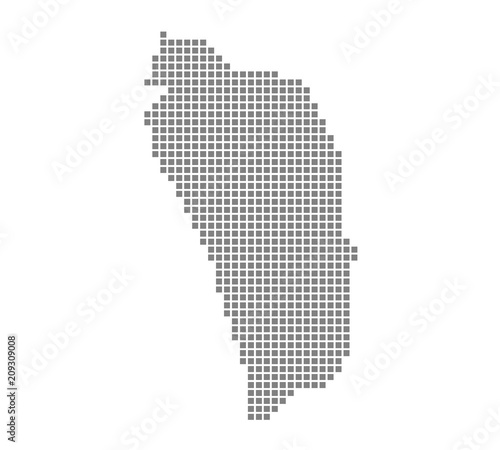 Pixel map of Dominica. Vector dotted map of Dominica isolated on ...