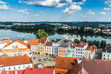 Aerial View Of Jindrichuv Hradec. City In South Bohemian Region, Czech Republic, Central Europe.