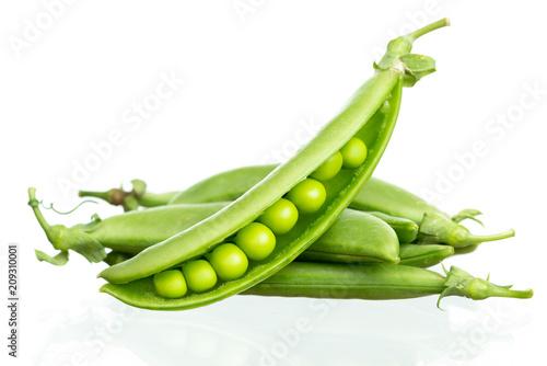 Fotografía  Pod of green pea , green peas, on white background