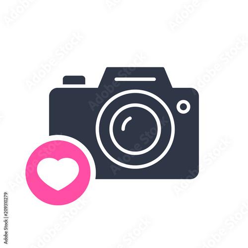 Photo Camera Icon Technology Icon With Heart Sign Photo Camera
