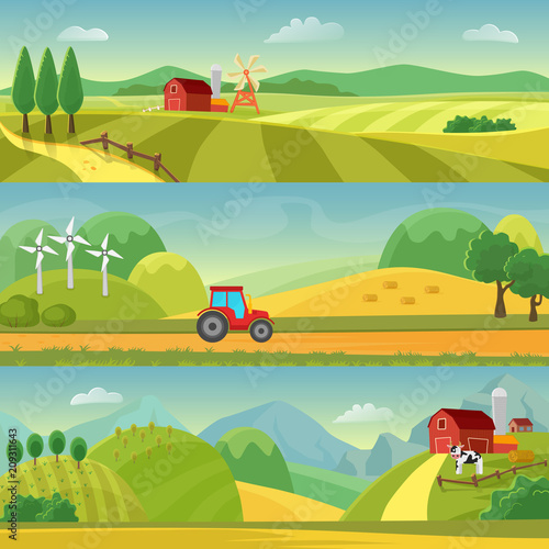Foto op Canvas Pistache Rural landscape with fields and hills and with a farm. Agriculture and Agribusiness Farming. Rural landscape templates. Vector design for infographic and web.