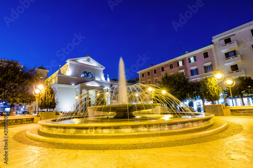 City center of Anzio by night Canvas Print