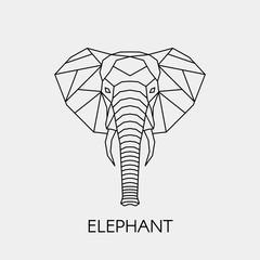 Streszczenie wielokątne głowy słonia. Afrykańska linia geometryczna. Ilustracji wektorowych.