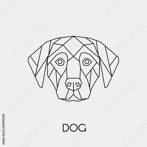 Abstract polygonal head of a dog. Geometric linear animal. Vector illustration.