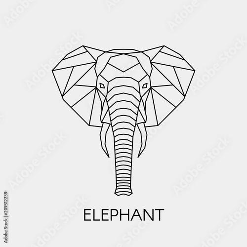 Fototapeta premium Streszczenie wielokątne głowa słonia. Afrykańskie zwierzę linii geometrycznej. Ilustracji wektorowych.