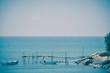 Sea, pontoon and boats