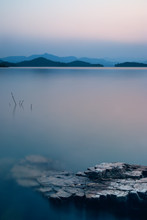 Beautiful Nature View Of Lake In The Dusk At Sunset Time, Blue Tone