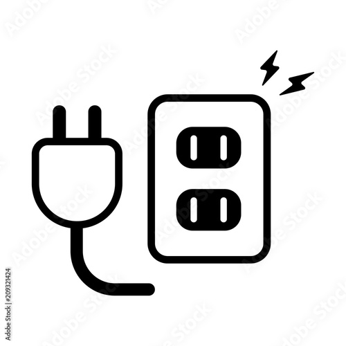 Fotografiet outlet plug and socket icon