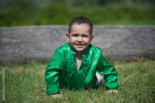 Little boy child dressed in the clothing culture of India. Poster