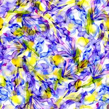 Violet, Beautiful, Summer, Graceful, Noble, Garden Flower Iris. Spring, Autumn Flora. Flower, Fragrant, Honey Bouquet. Watercolor. Illustration