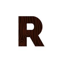 Vector Logo Letter R Wood Texture