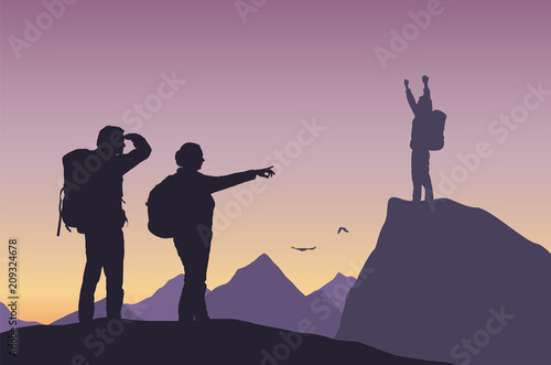 One successful tourist and two losers in mountain landscape Wallpaper Mural