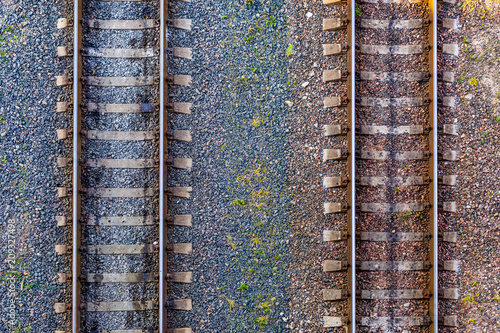 Stickers pour porte Voies ferrées Aerial view on Railway tracks. Cargo shipping. Travel background