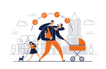 Man With Task Icons Around Head And Several Arms Carries Newborn Child, Stroller, Bag With Food, Talks On Phone And Leads Daughter Walking Dog On Leash. Concept Of Single Father. Vector Illustration.