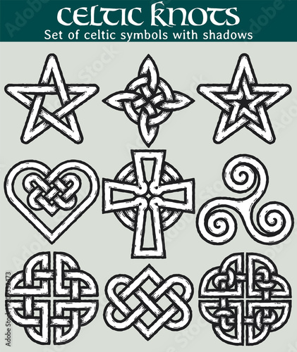 set of celtic symbols with shadows 9 symbols made with celtic knots
