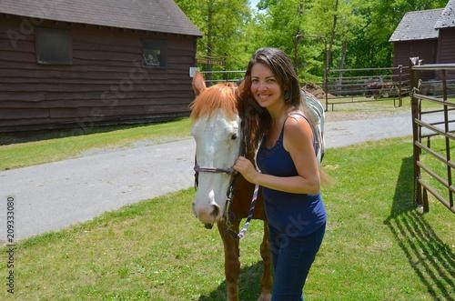 Fotografie, Obraz  Young Pretty Woman Horseback Riding