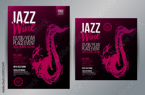 Photo  Brochure design template with hand drawing saxophone and wine stains