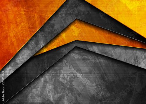 Fotografie, Obraz  Grunge tech material orange and dark grey background