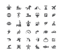 Set Of Icons. Road And Animals...