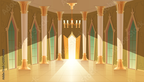 Vector castle hall, interior of ballroom for dancing, presentation or royal reception Fotobehang
