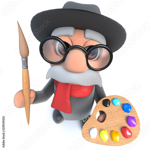 Valokuva  3d Funny cartoon old man character holding a paint brush and palette