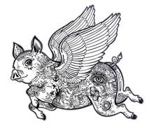 Flying Winged Pig. Tattoo Artw...