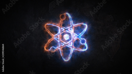 The physics of the atom. Sign of the atom. The sign of the atom is glowing. 21