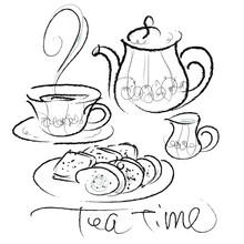 紅茶とクッキーのイラ...