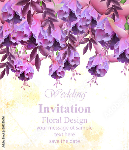 Vintage Floral Banner Or Greeting Card Birthday Wedding Invitation With Botanical Decors