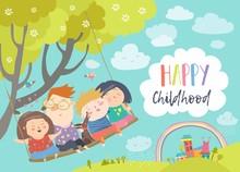 Happy Kids Flying On A Swing