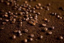Coffee Beans On Coffee Powder