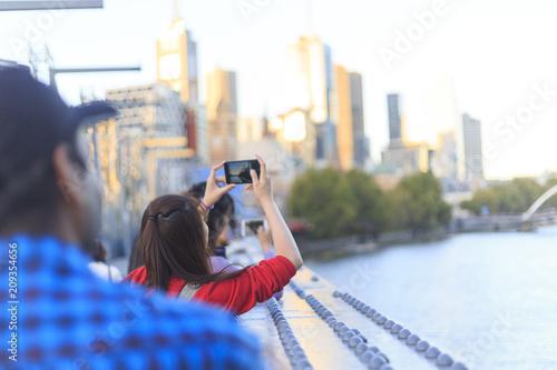 Poster Oceanië Tourist in Melbourne City in Australia