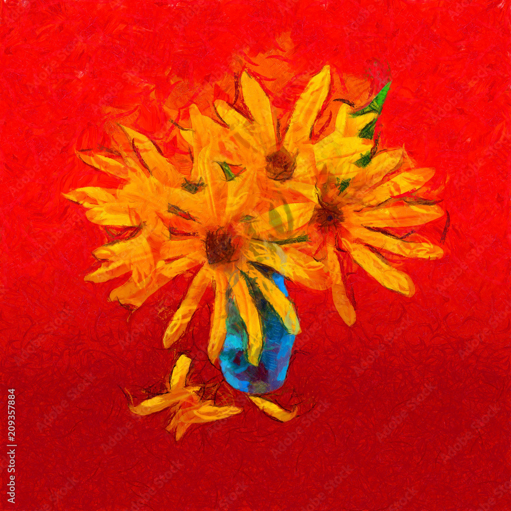 sunflower flower in small clear glass isolated on blue, digital painting. imitation of the style of Van Gogh