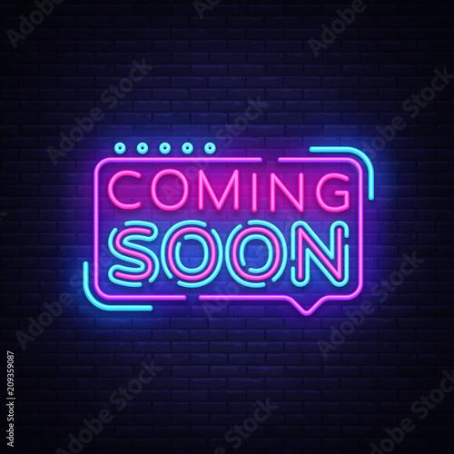Photo Coming Soon Neon Sign Vector