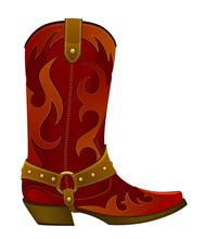 Red Leather Cowboy Boot