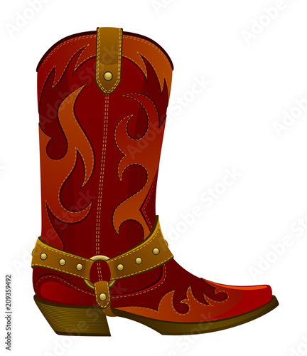 Red leather cowboy boot Canvas-taulu