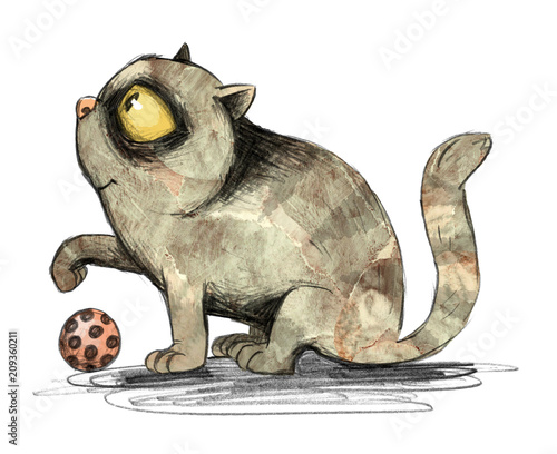 sliczny-kot-z-bawidelkiem-daje-lape