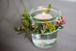 canvas print picture - Tischdekoration mit Gräsern und feinen Feldblumen und Blueten und Teelicht