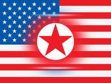 North Korean And American Flag 3d Illustration