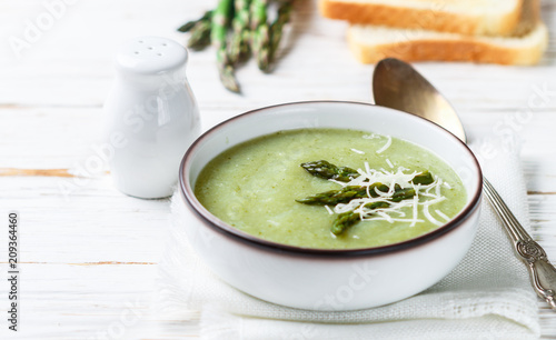 Asparagus soup puree. Healthy diet. Vegetarian cuisine