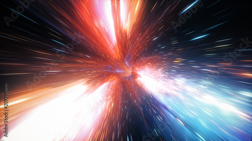 Photo Abstract jump in space in hyperspace among stars and flying in the wormhole 3d i