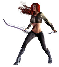 Fantasy Warrior Girl, Long Red Hairs, Armed With Sword And Dagger, 3d Illustration